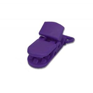 Pince attache Tétine plastique, coloris violet foncé (2 pièces)
