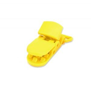 Pince attache Tétine plastique, coloris jaune (2 pièces)