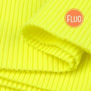 Bord Côte, Jersey tubulaire, coloris jaune fluo, coupon de 16x80cm