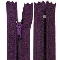 Fermeture éclair violet aubergine, 14 cm