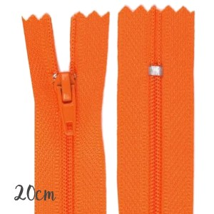 Fermeture éclair orange, 20 cm