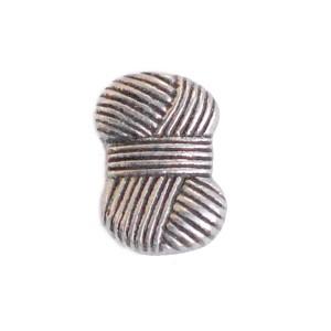 Bouton à pied,motif pelote de laine, ABS coloris argenté