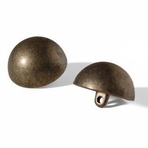 Bouton Métal demi-sphère 22mm, ABS coloris bronze