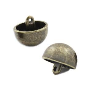 Bouton Métal demi-sphère 15mm, ABS coloris bronze