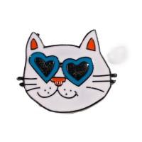 Pin's chat, mini broche en métal émaillé motif chat