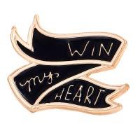 """Pin's banière """"win my heart"""", mini broche en métal émaillé motif drapeau """"win my heart"""""""