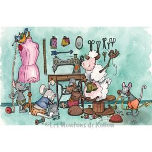 Carte de correspondance, atelier de couture des Moutons