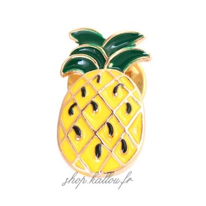 Pin's Ananas, mini broche en métal émaillé