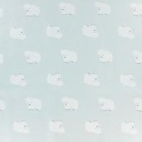 Tissu Sweat ours polaire sur fond bleu pâle, designer Kiyohara ( x 25cm).