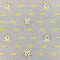 Tissu Sweat roi lion sur fond gris, designer Kiyohara ( x 25cm).