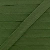 Biais coton vert olive, pré-plié 20mm, col009