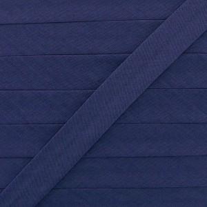 Biais coton bleu marine, pré-plié 20mm, col011