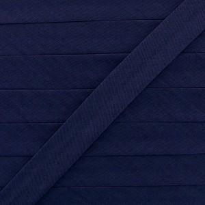 Biais coton bleu nuit, pré-plié 20mm, col012