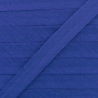 Biais coton bleu indigo, pré-plié 20mm, col0113