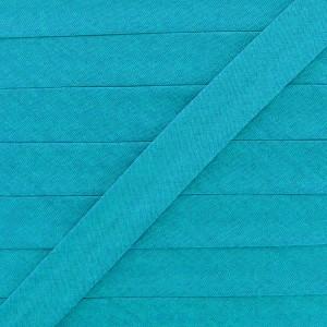 Biais coton bleu curaçao, pré-plié 20mm, col021