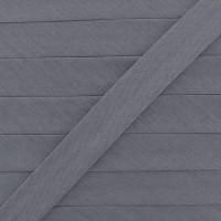Biais coton gris agathe, pré-plié 20mm, col022