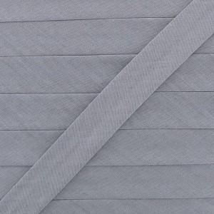 Biais coton gris agathe clair, pré-plié 20mm, col023
