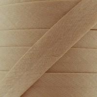 Biais coton biscuit amande, pré-plié 20mm, col024
