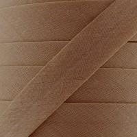 Biais coton biscuit caramel, pré-plié 20mm, col025