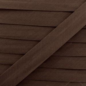Biais coton tabac brun, pré-plié 20mm, col026