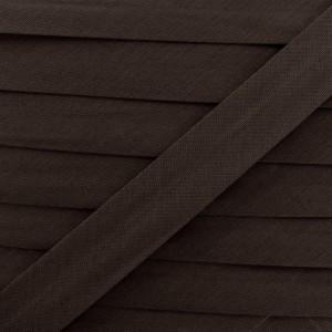 Biais coton brun foncé, pré-plié 20mm, col027