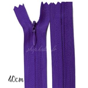 Fermeture éclair à glissière  invisible, violet aubergine 40 cm