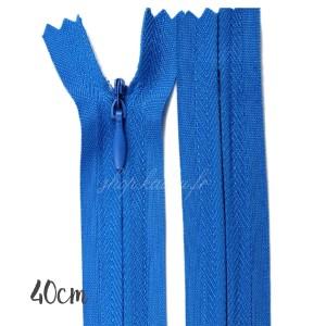 Fermeture éclair à glissière  invisible, bleu atelier 40 cm