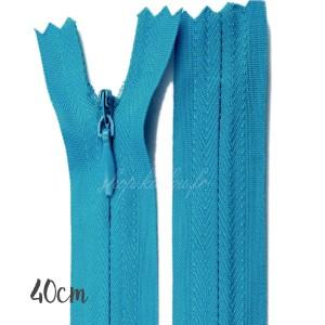 Fermeture éclair à glissière  invisible, bleu azur 40 cm