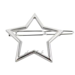 Barrette, épingle à cheveux motifs étoile, coloris argent