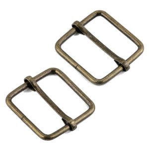 Boucle coulissante métal carrée pour sac, 30 mm x 31 mm bronze (lot de 2)