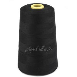 Cône de fil noir polyester, 4500 mètres