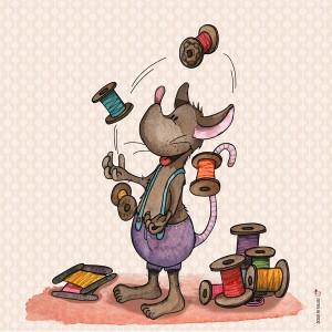 Panneau tissu Souris jonglant avec des bobines de fil, designer Les Moutons de Kallou 26 x 26 cm