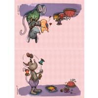 Panneau tissu spécial trousse : 2 pans Souris thème couture coloris rose, designer Les Moutons de Kallou 29,5 x 20,5 cm
