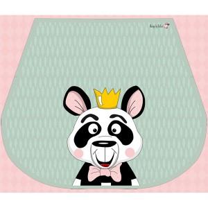 Panneau tissu Faux Suede Rabat pour sac, motif Panda, designer Les Moutons de Kallou 22 x 26,5 cm
