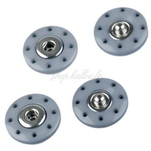 Pressions rond à coudre 20mm, coloris bleu gris (lot de 2)