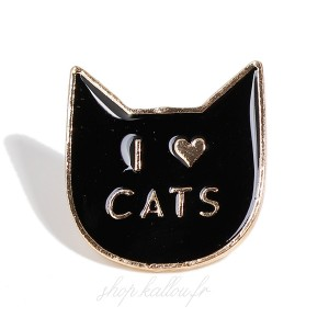 Pin's I love Cats, mini broche en métal émaillé motif chat