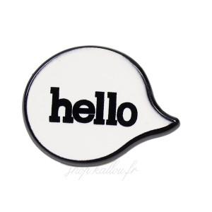 "Pin's bulle BD ""Hello"", mini broche en métal émaillé motif Bulle"