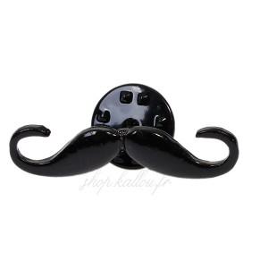 Pin's moustache, mini broche en métal émaillé motif moustache