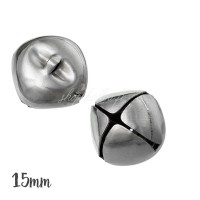 Grelot cloche argent 15mm, lot de 5