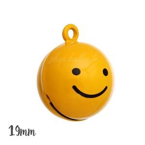 Grelot Smiley Heureux 19mm,coloris jaune, à l'unité