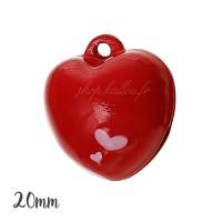 Grelot coeur 20mm,coloris rouge, à l'unité