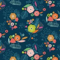 Tissu Fleurs indigo, collection Flock designer Dashwood Studio ( x 50cm)
