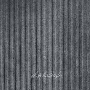 Tissu Minky doudou cotelé 5mm, coloris gris, très doux