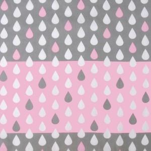 Chute de 41 cm de Tissu Weather, gouttes rose et gris, en coton