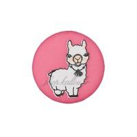 Bouton rond lama rose Fushia