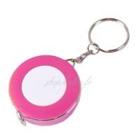 Mètre ruban, enrouleur automatique, porte-clef, coloris rose