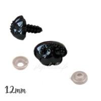 Nez sécurité Noir, motif animal B, 12 mm pour peluche (lot de 2)
