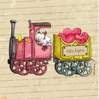 Panneau tissu Mouton à la locomotive, petit train de l'amour, designer Les Moutons de Kallou 26 x 26 cm