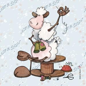 Panneau tissu Mouton couturier reprisant un pantalon, designer Les Moutons de Kallou 40 x 40 cm