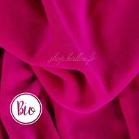 Bio Velours de coton, coloris rose flashy, tissu Nicky très doux (x 50 cm)